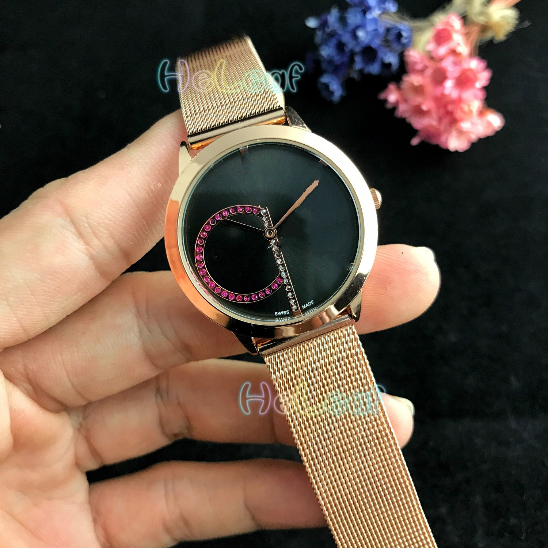 Luxury Fashion Women Watches Silver Gold Round Stainless Steel Band K Color Diamond Quartz Watch Female Clock Montre Femme