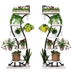 Pokój dzienny gospodarstwo domowe w kwiaty do postawienia na półkę półka żelazny garnek półka wielokondygnacyjna wewnętrzna podłoga balkonowa montowana półka z wieloma mięsem w Półki dla roślin od Meble na
