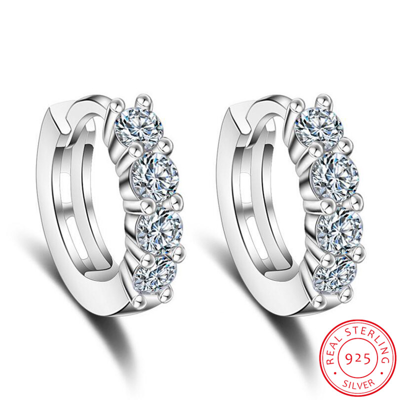 100% 925 Sterling Silver Dazzling CZ Crystal Circle Round Hoop Earrings for Women Sterling Silver Jewelry SCE351-1H