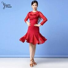 2 Pcs/Set Latin Dance Costume Set International Stage Lace Skirt Long Sleeve Tassel Tops for Latin Dancing Exercise Spring New