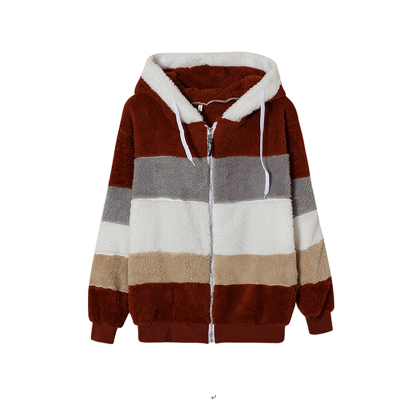 He9db46dd83f545d394bcca4a971c7617h Female Casual Loose Long Sleeve OuterwearWinter New Warm Plush Furry Women Jackets Fashion Patchwork Zipper Pocket Hooded Coats