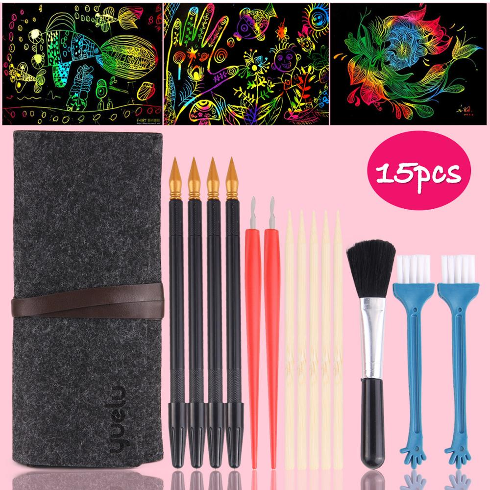 15PCS Scratch Tools Set Kids Repair Scratch Paper Coloring Pens Bamboo Sticks Brush Bag Scraping Painting Toy Children Gifts