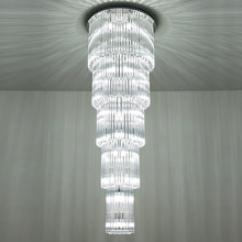 multi layers modern crystal chandelier lamp AC110V 220v long staircase light fixtures ,luxury projects lighting(China)