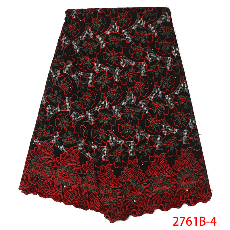 Nigeria Swiss Voile Lace African Lace Fabric 2019 High QualityEmbroidery LaceDry Cotton Lace Fabrics With Stones KS2761B-4