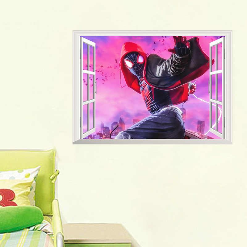 3D fenêtre dessin animé Spiderman Stickers muraux pour enfants chambre chambre décor à la maison mur cassé Super héros Mural Art décoration