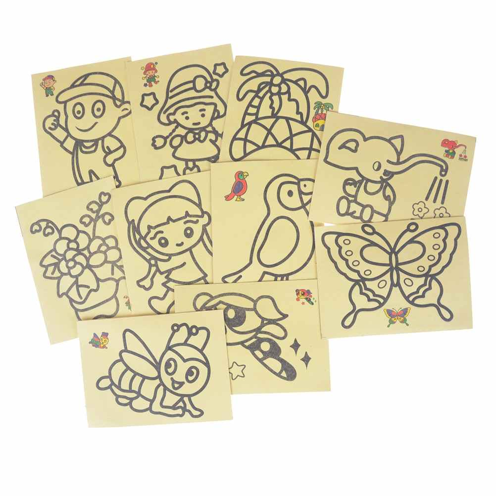 10Pcs/lot DIY Children Handmade Picture Paper Craft Drawing Board Sets BubbleSand  Sand Draw Art Kids Sand Painting Toy