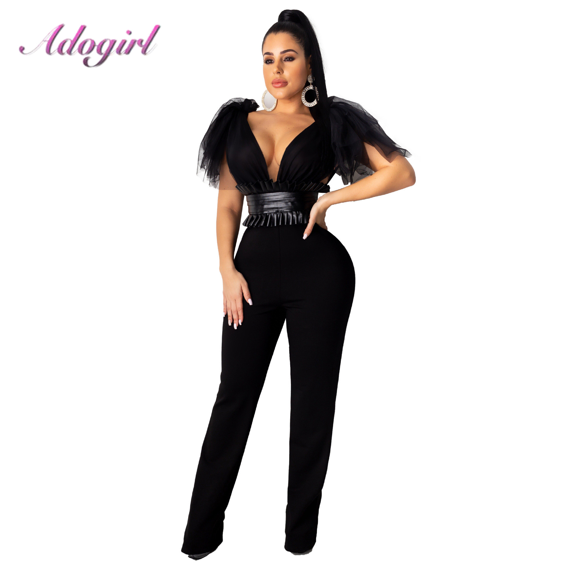 Sexy Sheer Mesh Patchwork Bow Shoulder Night Party Club Jumpsuit Women Deep V Neck Sleeveless With Belt Rompers Outfit Overalls