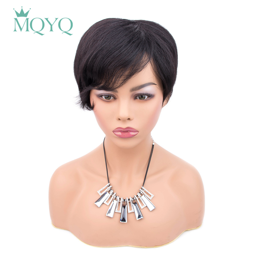 MQYQ Malaysian Straight Short Human Non-remy Hair Wigs With Baby Hair Bob Wig Human Hair Wigs For Black Women Free Shipping