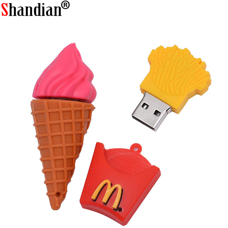 SHANDIAN 16G 4GB 8GB 32GB 64GB Real Capacity Cute French Fries Shape USB 2.0 Flash Drive Pendrive Car Key Memory Stick Card Pen