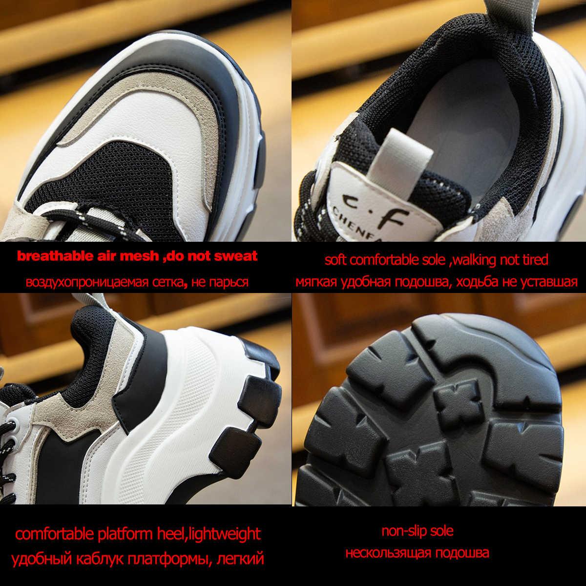 Fujin Sepatu Wanita Sneakers Tinggi Bersol Putih Hitam Tebal Musim Panas Chunky Sepatu Bernapas Santai Wanita Sepatu