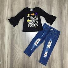 Новые поступления коллекции Осень/Зима Хэллоуин для волос, для маленькой девочки Изысканная одежда джинсы с черным топом хлопковые брюки комплект детской одежды с оборками