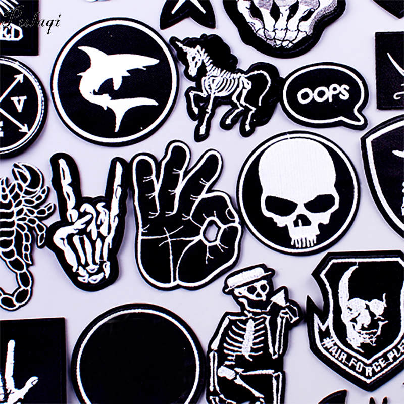 Pulaqi Stripe Rock Patch Band DIY Embroidered Patches For Clothes Patch Iron On Patches Clothing Punk Badges For Clothes Sticker