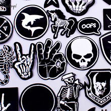 Pulaqi Stripe Rock Patch Band DIY Embroidered Patches for Clothes Iron On Clothing Punk Badges For Sticker