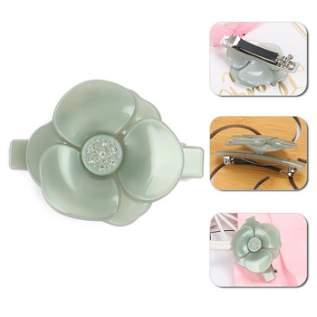 Buena Pure Color Camellia Hair Clips Jade French Acetate Flower Barrette Small Big Accessories