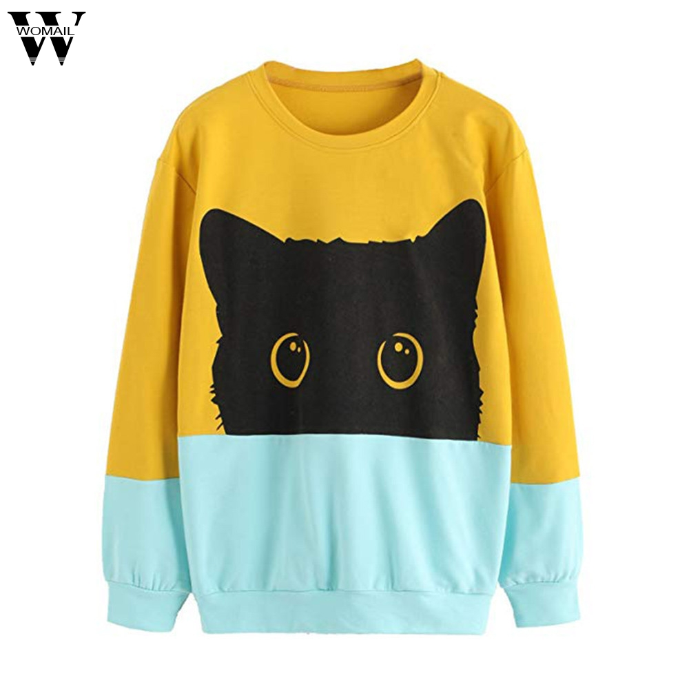 Womail Cute Black Cat Sweatshirt Women Men Kawaii Long Sleeve Animal Hoody 2020 Autumn Winter Pullovers Funny Brand Clothing 12