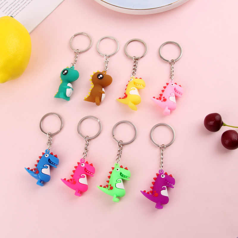 2019 Fashion Cute Cartoon Little Dinosaur Keychain PVC The silicone Key chain For Women Bag Charm Key Ring Pendant Gifts Jewelry