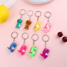 2019 Fashion Cute Cartoon Little Dinosaur Keychain PVC The silicone Key chain For Women Bag Charm Key Ring Pendant Gifts Jewelry(China)