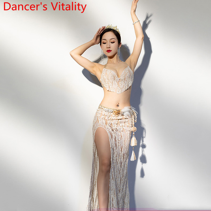 New Women Belly Dance Practice Clothes Sexy Lace Bra Skirt Set Adults Oriental Indian Dancing Stage Performance Training Garment