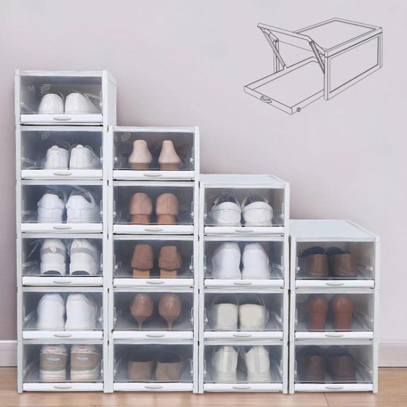 baffecte 3 pieces lot rangement chaussures tiroirs etagere a chaussures en plastique empilable boites a chaussures boite a chaussures organisateur