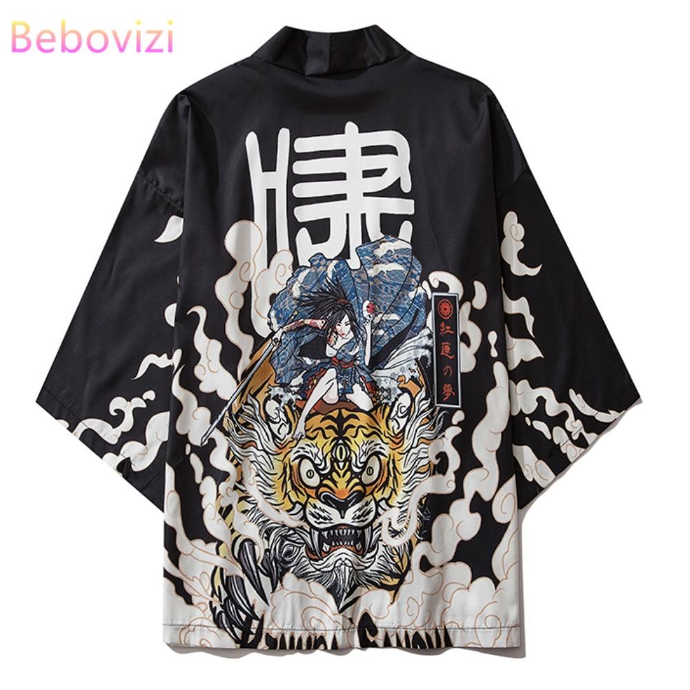 17 Style Tiger Print Black And Men Women Harajuku Japanese Fashion Kimono Cardigan Blouse Haori Obi Asian Clothes Samurai