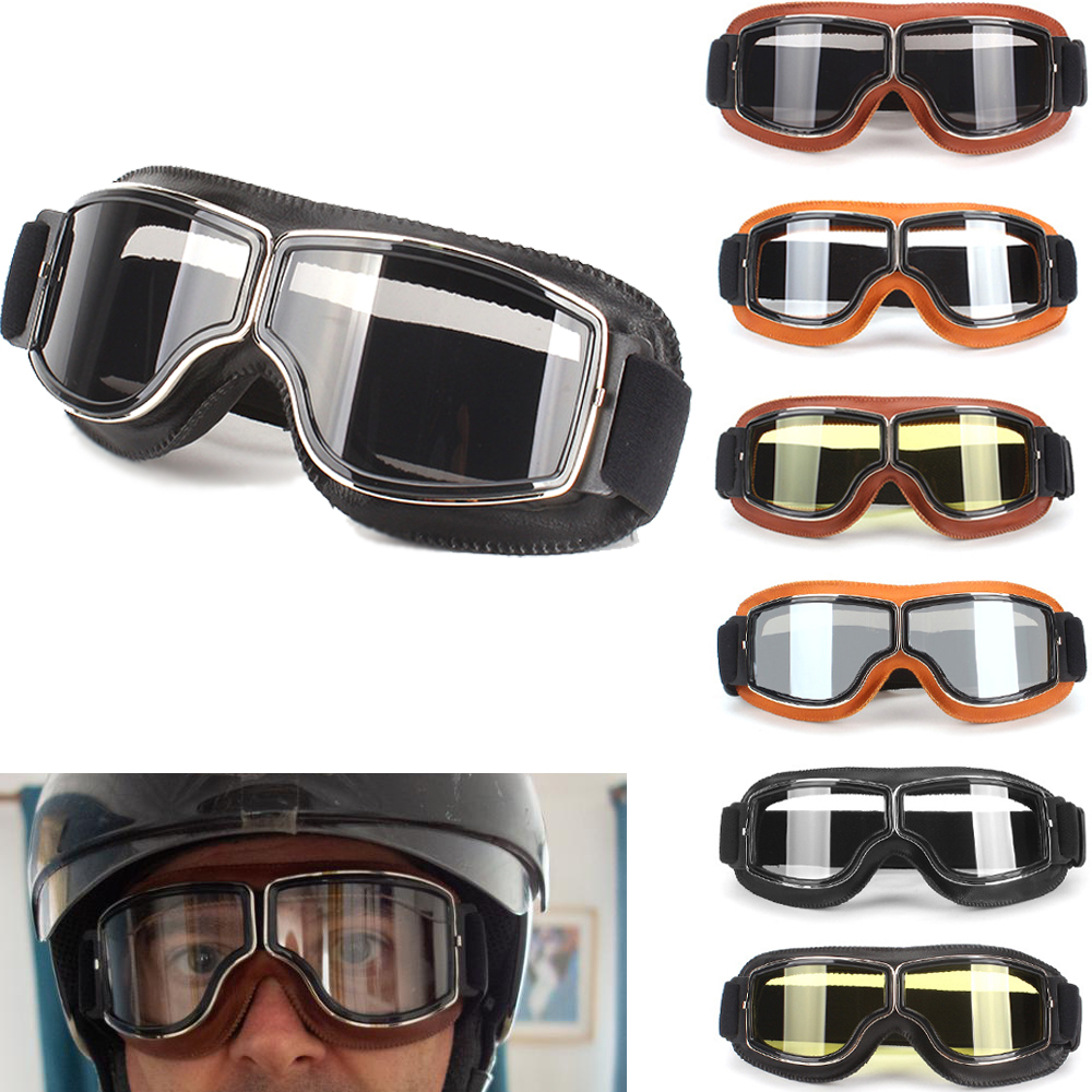 Best Selling Vintage Goggles Motorcycle Leather Goggles Glasses Cruiser Folding Goggles 3-Color Leather 5-Color Lens
