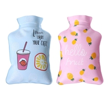 12x6,5 см Mini Handy PVC Water-Filled Type Hand Warmer Cute Cartoon Cat Red Fruit Printed Hot Water Bag Bottle Container