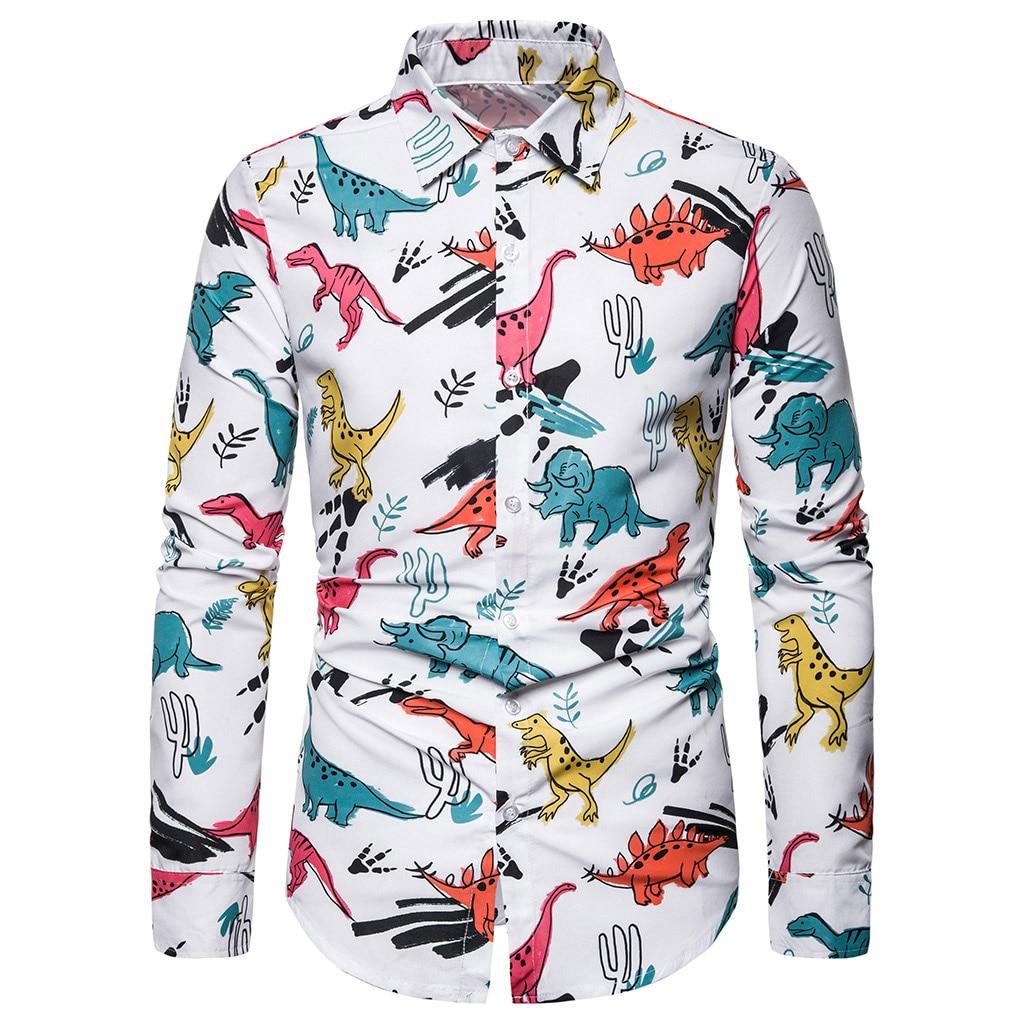 Men Floral Print Shirt Button Down Long Sleeve Turn-Down Collar Top