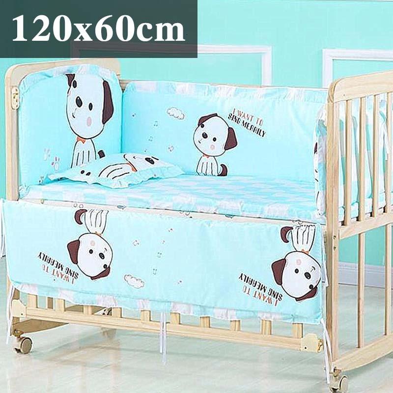 5 шт. натуральный хлопок детское постельное белье Комплект для бампера мягкий съемным моющимся коляска для новорожденных Детское постельное белье детская кроватка бампер детская комната с декором на утолщенной - Цвет: Stereo puppy120x60cm