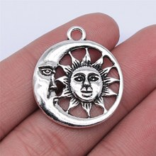 WYSIWYG 10 Uds 24x24mm Color de plata antiguo Luna abalorios del sol colgante para fabricación de joyería DIY resultados de la joyería