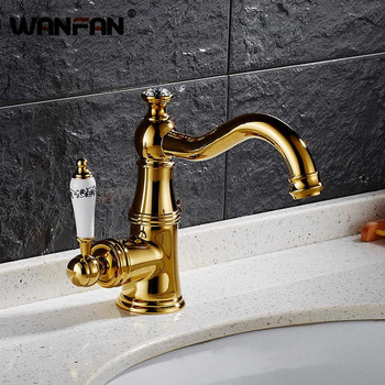 Basin Faucets Modern Gold  Deck Mounted Bathroom Mixer Faucets Brass Finish With Diamond High Bathroom Sink Faucet S79-361