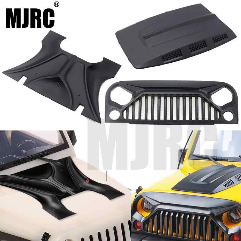 MJRC 1:10 RC Body Shell Jeep Wrangler RubiconสำหรับAxial SCX10 D90 90046 90047 313Mmฐานล้อAngry Face MS hood Grille