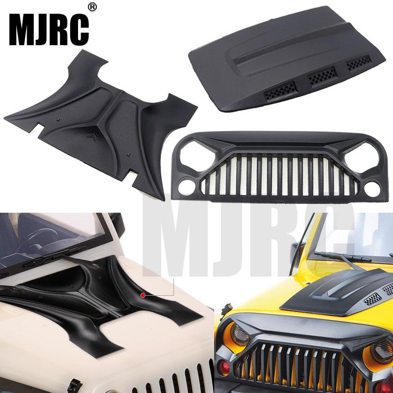 MJRC 1:10 RC Body Shell Jeep Wrangler Rubicon For Axial SCX10 D90 90046 90047 313mm Wheelbase Angry Face MS Hood Intake Grille