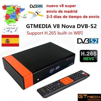 Gtmedia v8 nova DVB-S2 FTA Satellite Receiver Freesat v8 with Europe Cccam 7 lines for 1 year Support H.265 Built-in WiFi IPTV