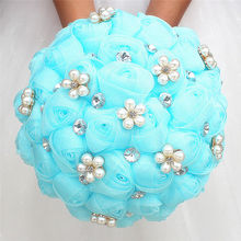 Classic Baby Blue Silk Rose Wedding Bouquets Handmade Flowers Bridal bridesmaid Polyester Holding W3001