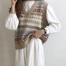 Геометрический Трикотажный жилет без рукавов свитер женский свободный Топы оверсайз осень базовые винтажные пуловеры джемпер женская уличная одежда
