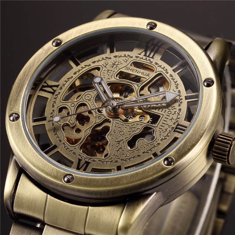 Shenhua Men Skeleton Watches Bronze Stainless Steel Automatic Mechanical Watches Relogio Masculino montre homme reloj hombre
