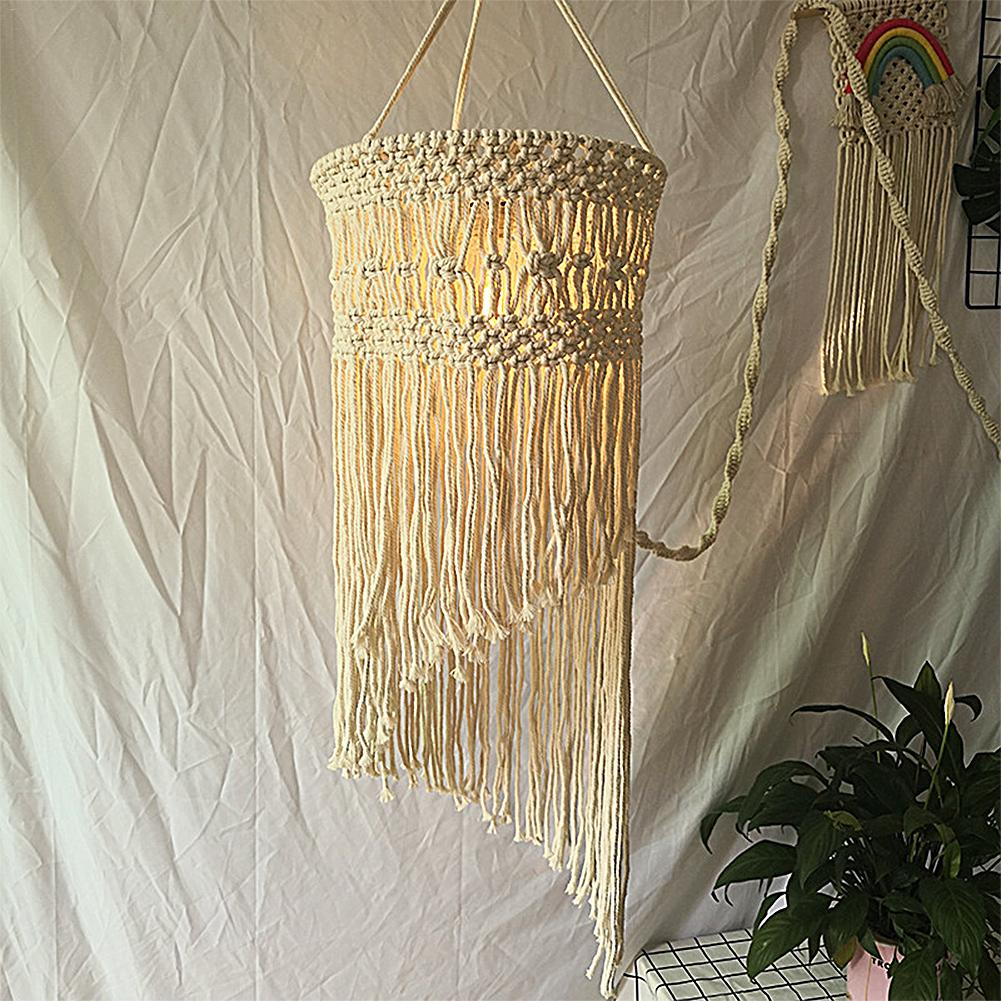 Bohemian Hand-knitted Lampshade Tapestry Wall Hanging Lamp Room Coffee Restaurant Decoration Lampshade Macrame