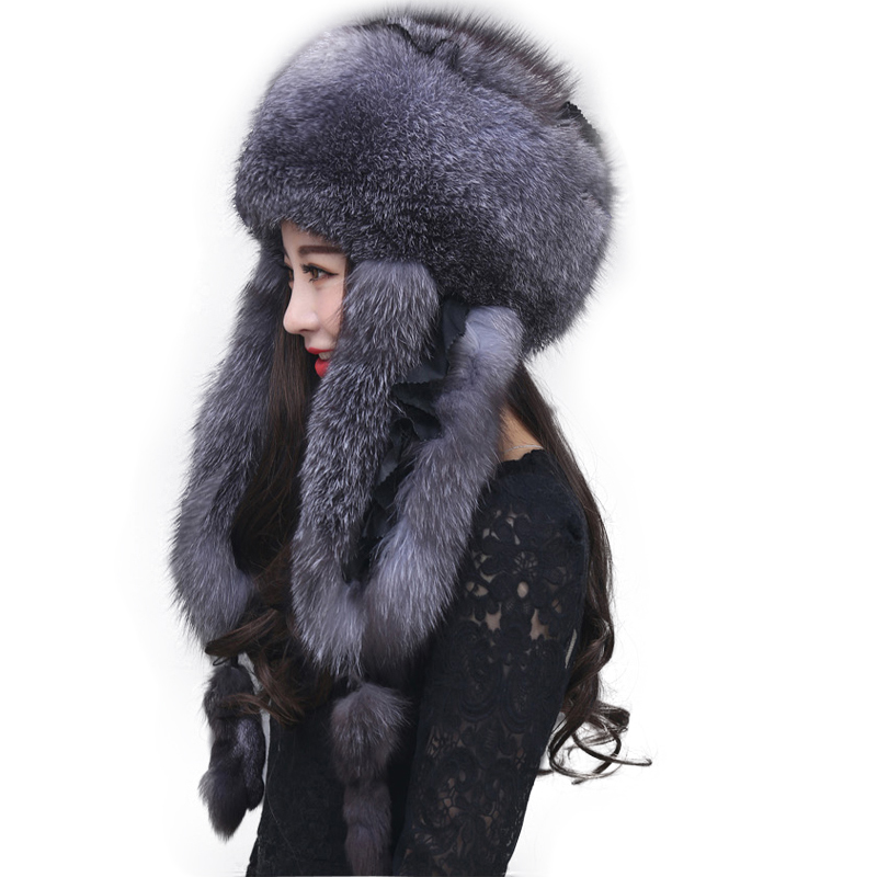 2019 Fashion Ladies Fur Hat Natural Fox Fur Russian Fox Fur Ushanka Winter Hat Thickening Warm Ears Fashion Bomber New Arrival