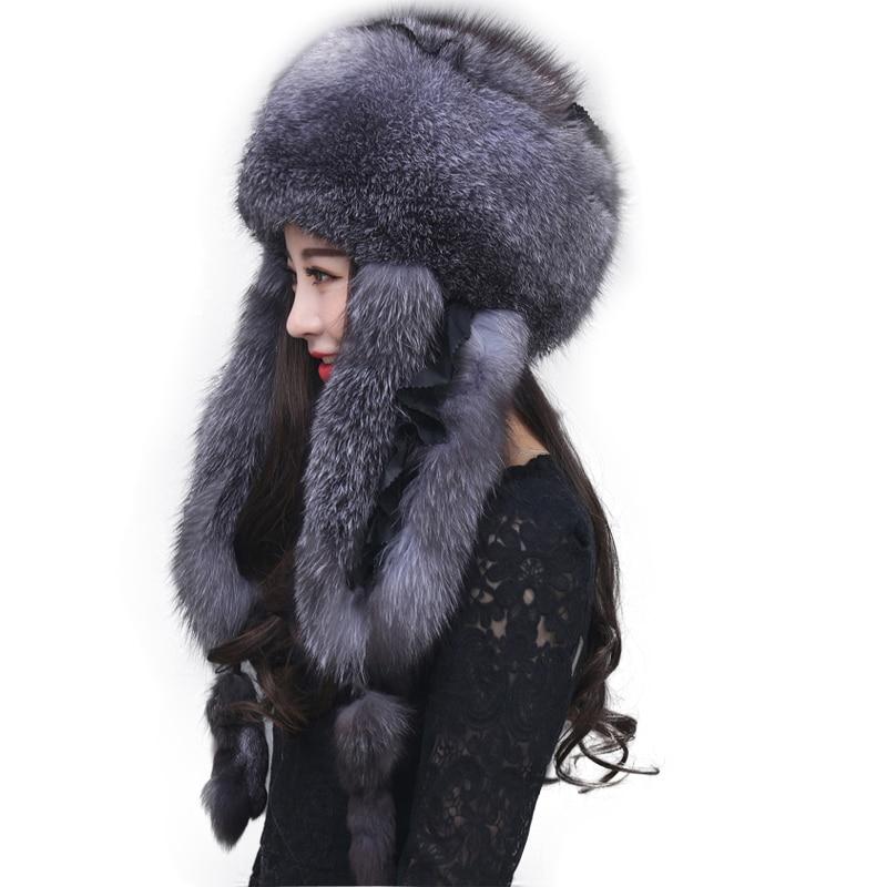 2019 Fashion Ladies Fur Hat Natural Fox Fur Russian Fox Fur Ushanka Winter Hat Thickening Warm Ears Fashion Bomber New Arrival