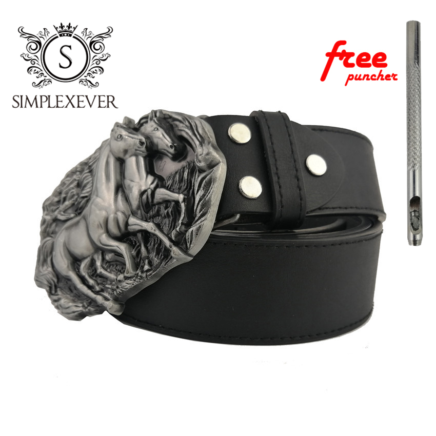 The Three-dimensional Horse Metal Belt Buckle Suitable For 3.8-4 CM Width Of Belt Silver Horse Belt Buckles For Men