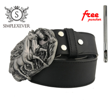The Three-dimensional Horse Metal Belt Buckle Suitable for 3.8-4 CM Width of Silver Buckles Men