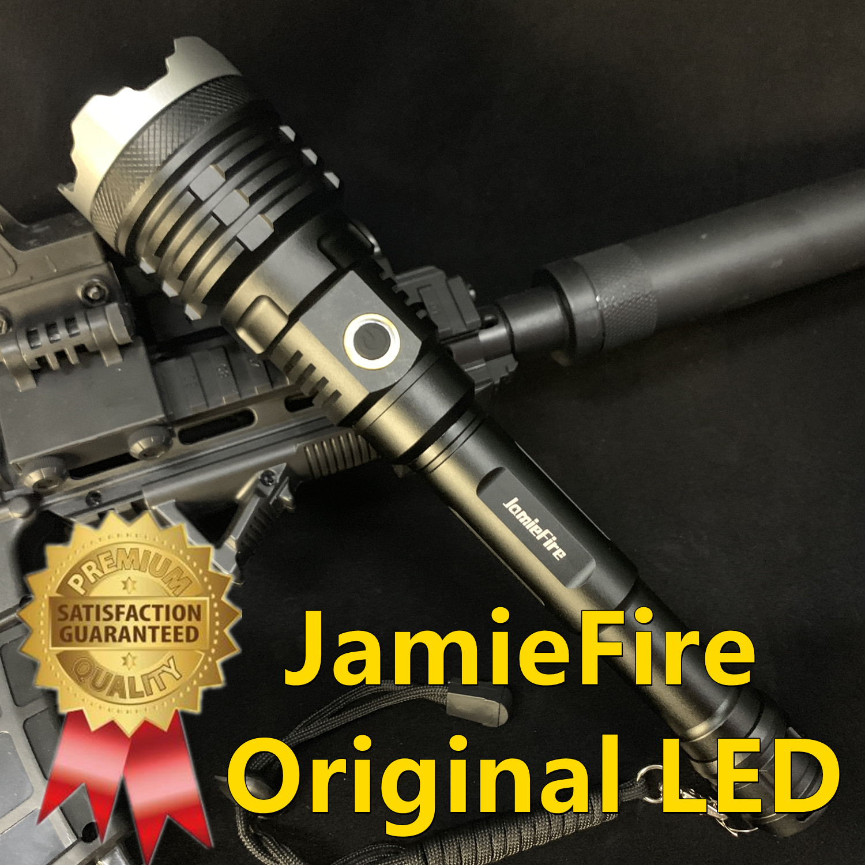 [Jamiefire led] poderosa lanterna tocha usb recarregável tactical caça 21700 zoom lâmpada de energia flash luz zoomable