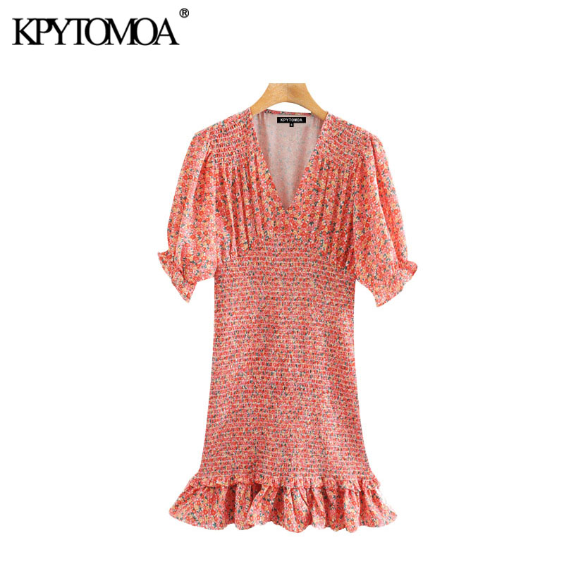 KPYTOMOA Women 2020 Chic Fashion Floral Print Elastic Smocked Mini Sheath Dress Vintage V Neck Ruffled Female Dresses Vestidos