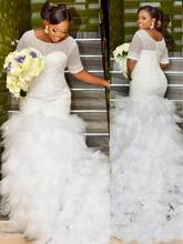 Fully Beaded Mermaid Plus Size Modest Wedding Dresses Half Sleeves Ruffles Tulle Dubai Full Figure Bridal Gowns(China)