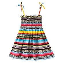 цена на 2020 Toddler Girl Boho Dresses Kids Girl Sleeveless Flower Print Cotton Floral Dress Children Clothes Summer Dress for Girls