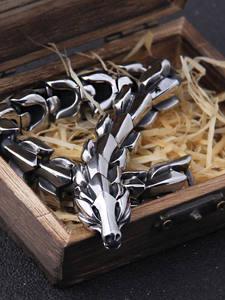 Punk Bracelet Viking Fashion Jewelry Ouroboros Stainless-Steel Vintage Men for Hippop