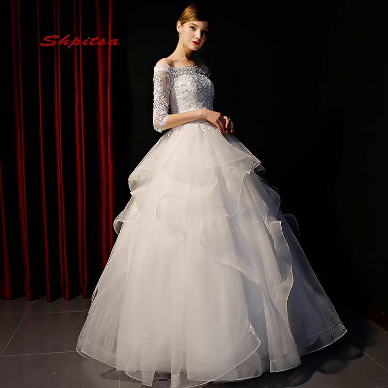 Lace Off Shoulder Wedding Dresses Princess Plus Size Tulle Women Wedding Gowns Ball Gown Bridal Bride Dresses Weddingdress