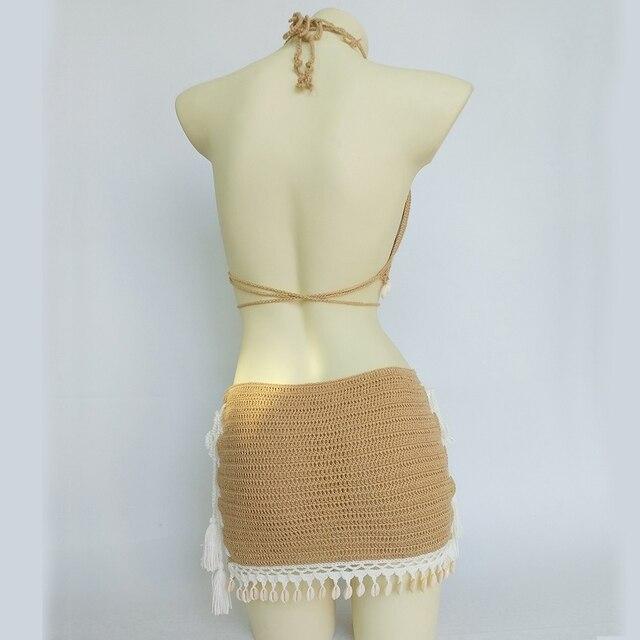 3pcs Bikini Set Woman Crochet Shell Tassel Bikini Top And Seashell Ankle Chain Sexy Beach Skirt Lace See Through Slim Mini Skirt 3