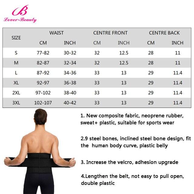 Lover-Beauty Men Waist Trainer Slimming Belt Latex Neoprene Two in One Body Shaper Cincher Tummy Trimmer Shapewear Fitness Strap 5
