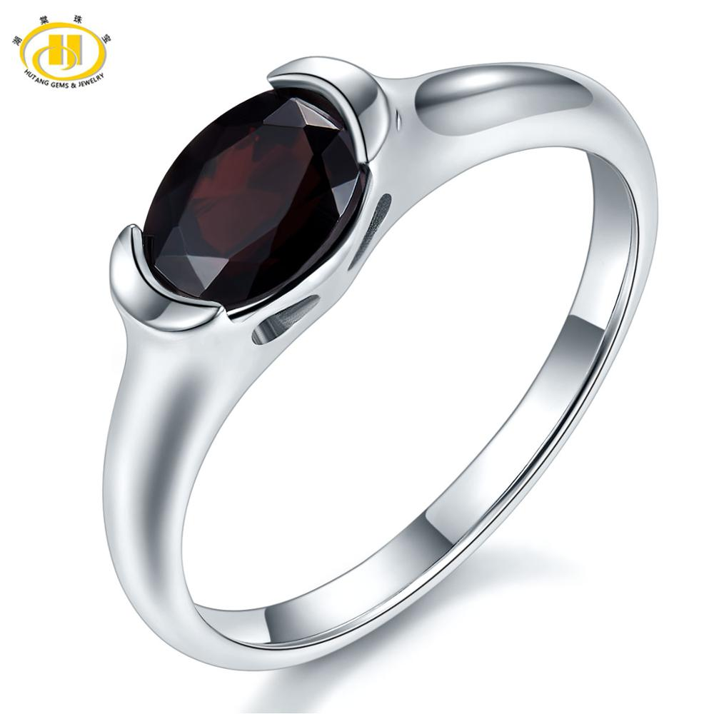 Hutang Mystery Black Garnet 925 Silver Ring for Women Natural Gemstone Sterling Silver Wedding Rings Fine Elegant Jewelry Gift